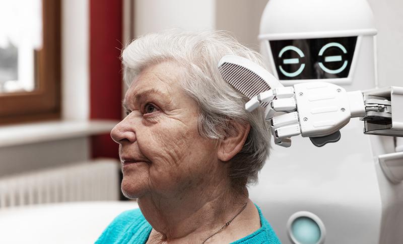ロボットが女性を触診