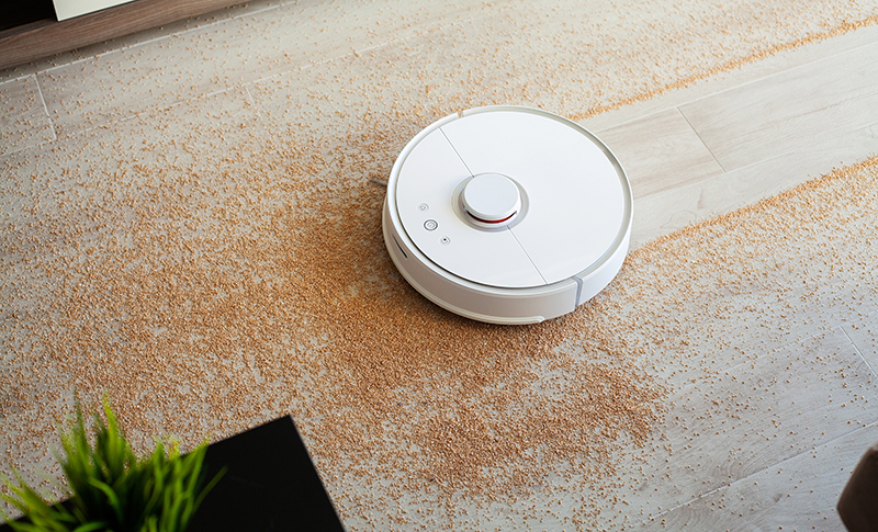 ロボットで床を掃除