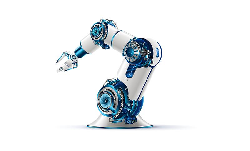 青色の差し色のあるロボットアームの